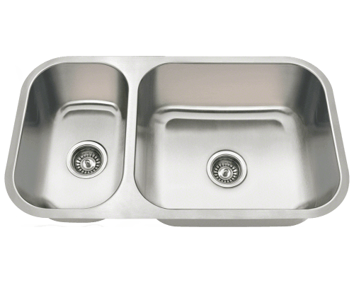 MR Direct 3218BR 3218BR Offset Double Bowl Undermount Stainless Steel Sink