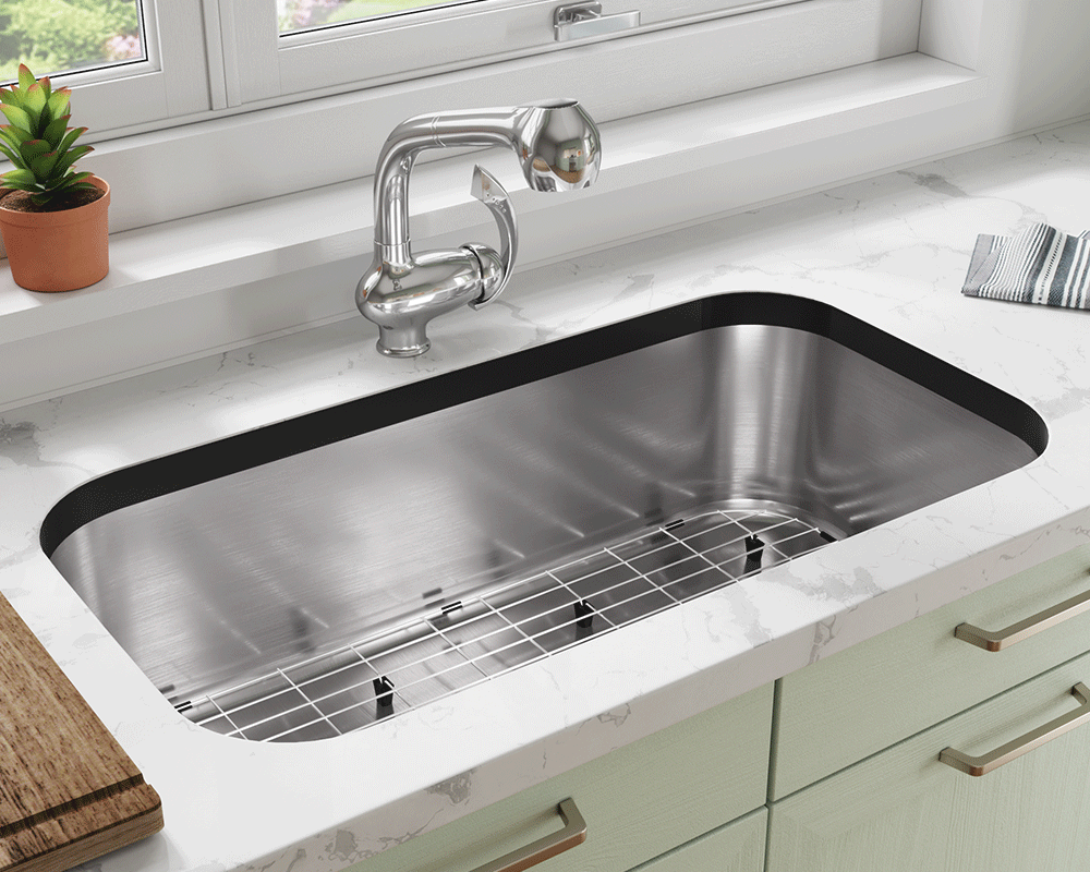 3218C-SLBL Lifestyle Image: 304-Grade Stainless Steel Rectangle Undermount to Laminate One Bowl Kitchen Sink