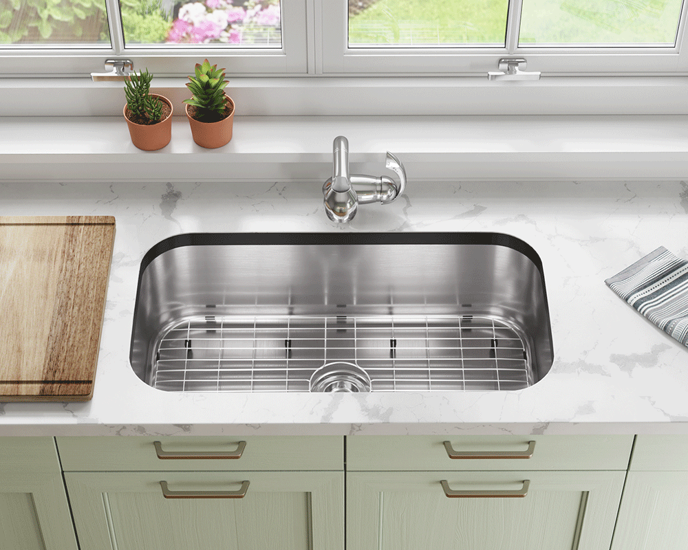 3218C-SLBL Lifestyle Image: 304-Grade Stainless Steel Rectangle One Bowl Undermount to Laminate Kitchen Sink