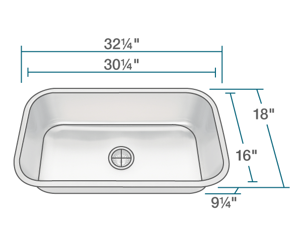 "The dimensions of 3218C-SLBL Single Bowl Undermount Stainless Steel Sink with Black SinkLink is 32 1/4"" x 18"" x 9 1/4"". Its minimum cabinet size is 33""."