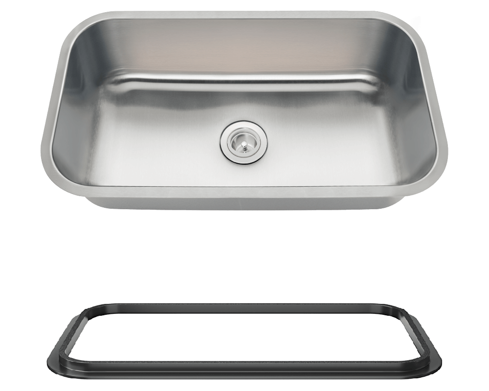 MR Direct 3218C-SLBL Single Bowl Undermount Stainless Steel Sink with Black SinkLink