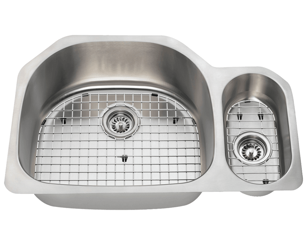 3221L Alt Image: 304-Grade Stainless Steel Rectangle Two Bowls Undermount Kitchen Sink