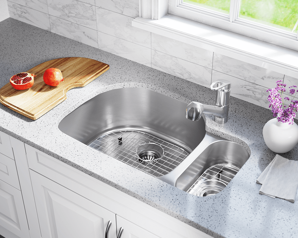 3221L Lifestyle Image: 304-Grade Stainless Steel Rectangle Undermount Two Bowls Kitchen Sink
