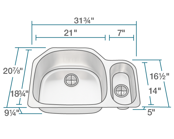 "The dimensions of 3221L Offset Stainless Steel Kitchen Sink is 31 3/4"" x 20 7/8"" x 9 1/4"". Its minimum cabinet size is 33""."