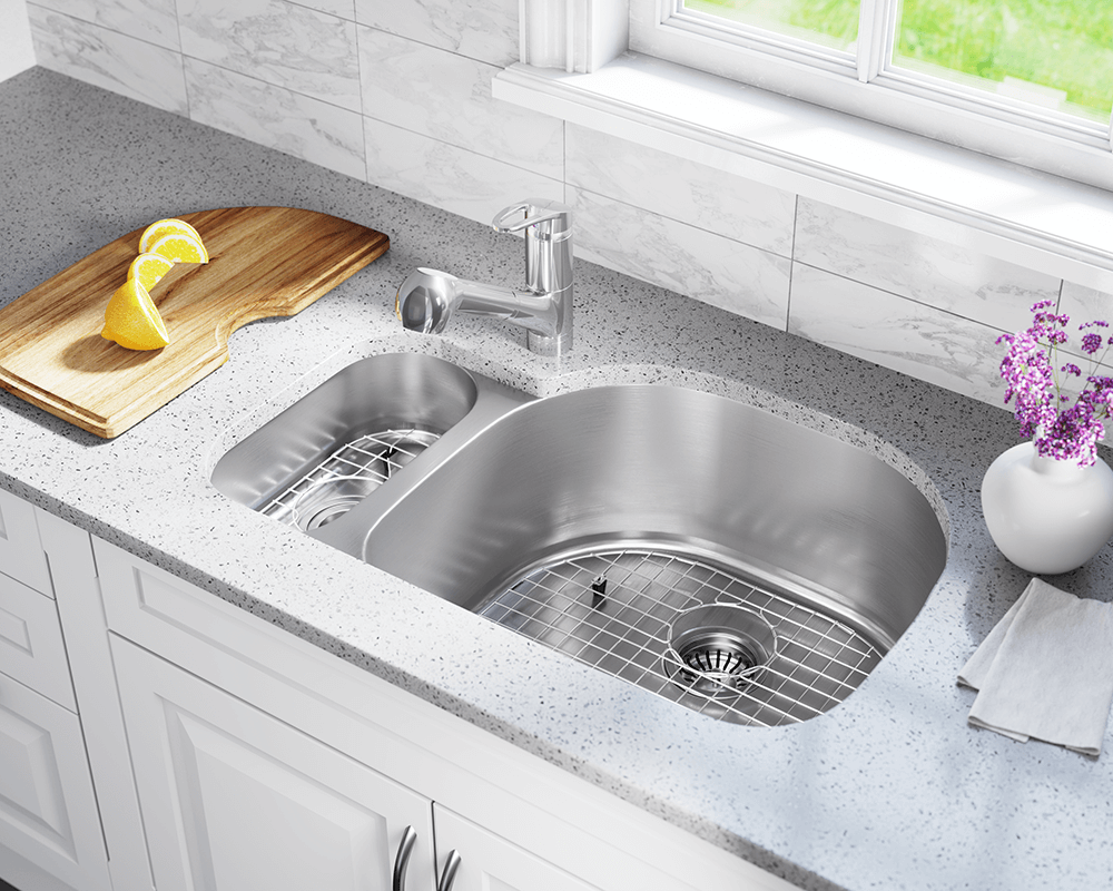 3221R Lifestyle Image: 304-Grade Stainless Steel Rectangle Undermount Two Bowls Kitchen Sink