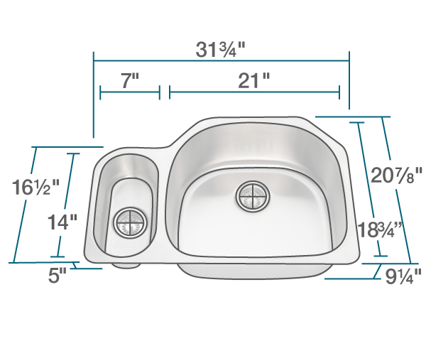 "The dimensions of 3221R Offset Stainless Steel Kitchen Sink is 31 3/4"" x 20 7/8"" x 9 1/4"". Its minimum cabinet size is 33""."