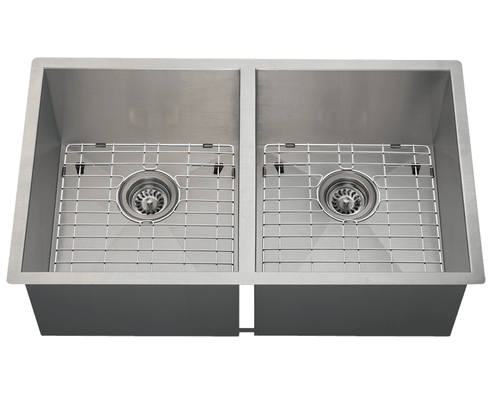 3322D Alt Image: 304-Grade Stainless Steel Rectangle Undermount Two Bowls Kitchen Sink