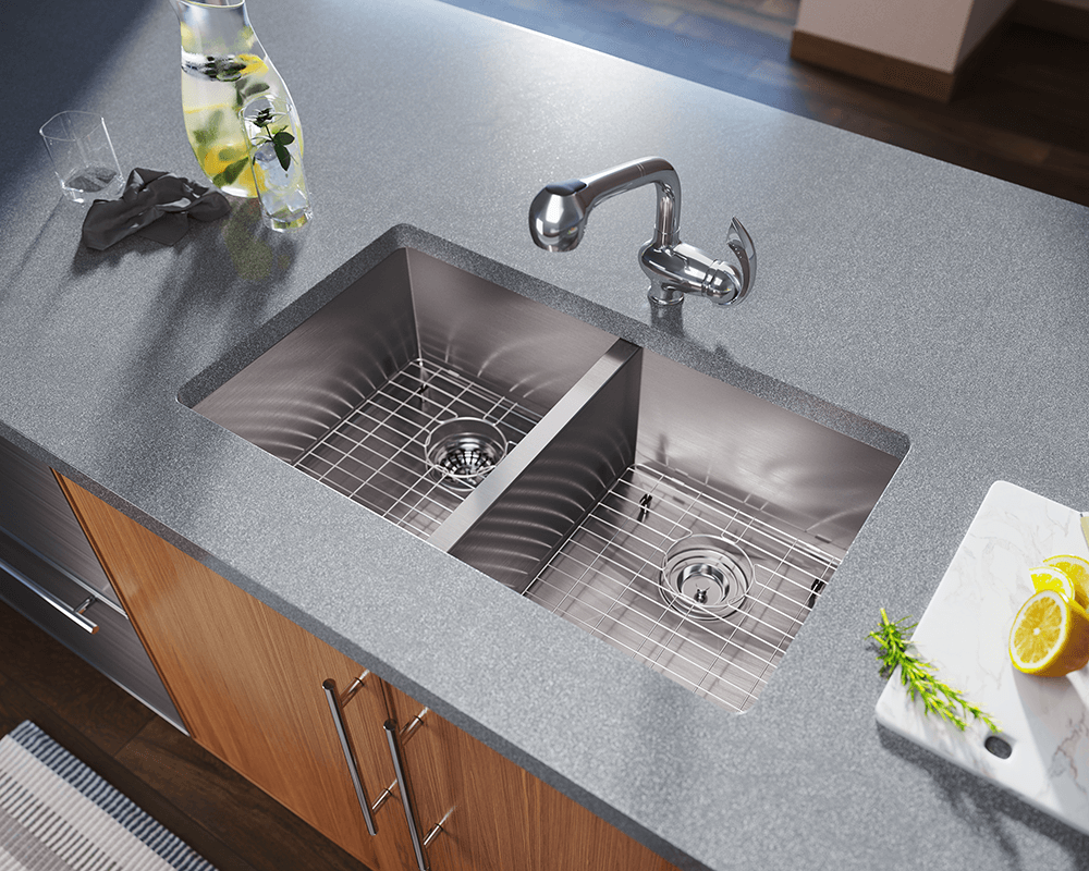 3322d double equal rectangular stainless steel kitchen sink for Best kitchen faucet for double sink