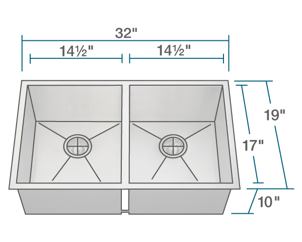 "The dimensions of 3322D Double Equal Rectangular Stainless Steel Kitchen Sink is 32"" x 19"" x 10"". Its minimum cabinet size is 33""."