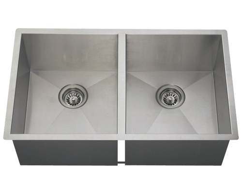 MR Direct 3322D 3322D Double Equal Rectangular Stainless Steel Kitchen Sink
