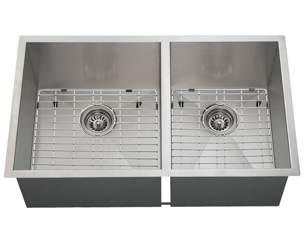 3322OL Alt Image: 304-Grade Stainless Steel Rectangle Undermount Two Bowls Kitchen Sink