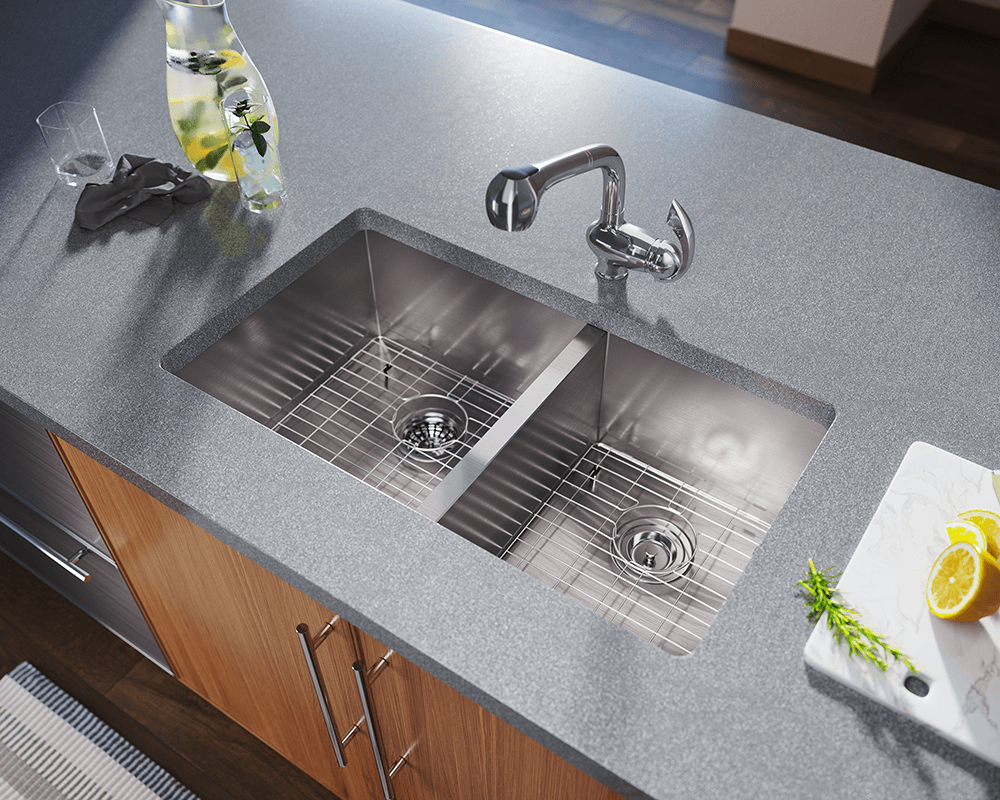 3322OL Lifestyle Image: 304-Grade Stainless Steel Rectangle Two Bowls Undermount Kitchen Sink
