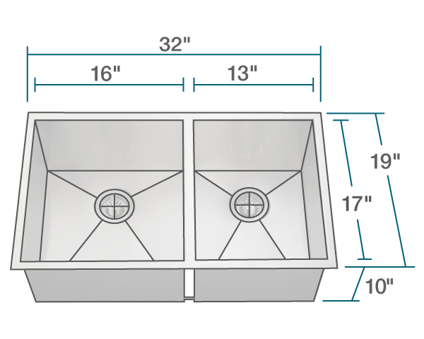 "The dimensions of 3322OL Double Rectangular Stainless Steel Sink is 32"" x 19"" x 10"". Its minimum cabinet size is 33""."