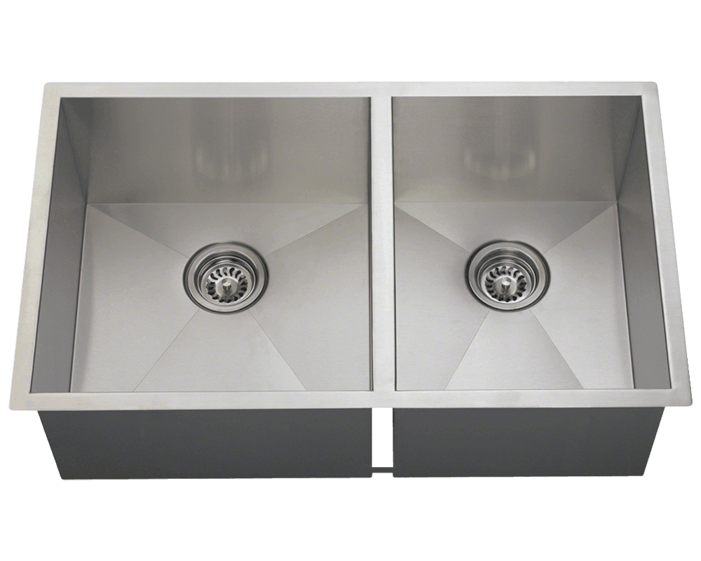 MR Direct 3322OL Double Rectangular Stainless Steel Sink