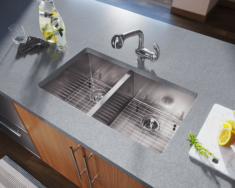 3322OR Lifestyle Image: 304-Grade Stainless Steel Rectangle Undermount Two Bowls Kitchen Sink