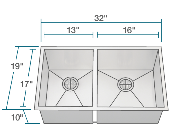 "The dimensions of 3322OR Double Rectangular Stainless Steel Kitchen Sink is 32"" x 19"" x 10"". Its minimum cabinet size is 33""."