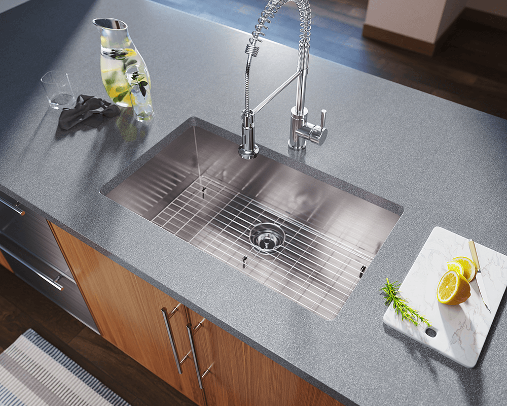 3322S Lifestyle Image: 304-Grade Stainless Steel Undermount One Bowl Rectangle Kitchen Sink