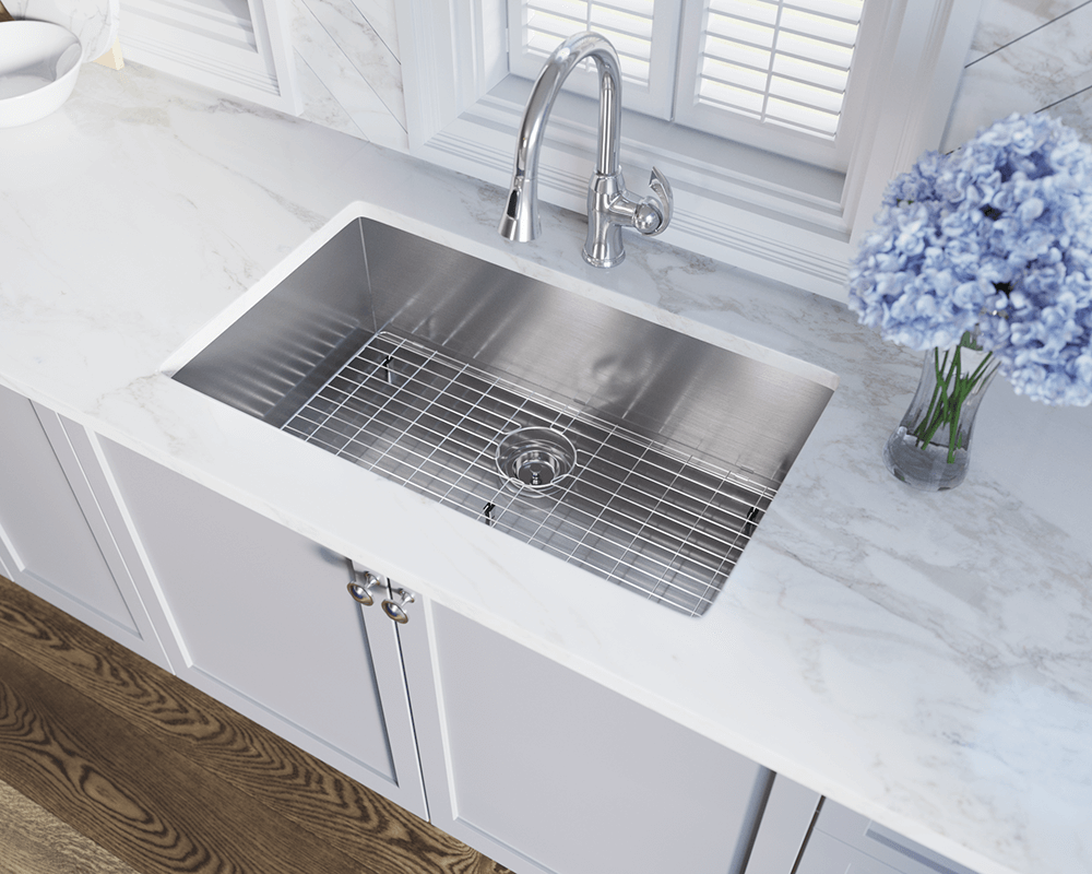 3322S Lifestyle Image: 304-Grade Stainless Steel Rectangle Undermount One Bowl Kitchen Sink