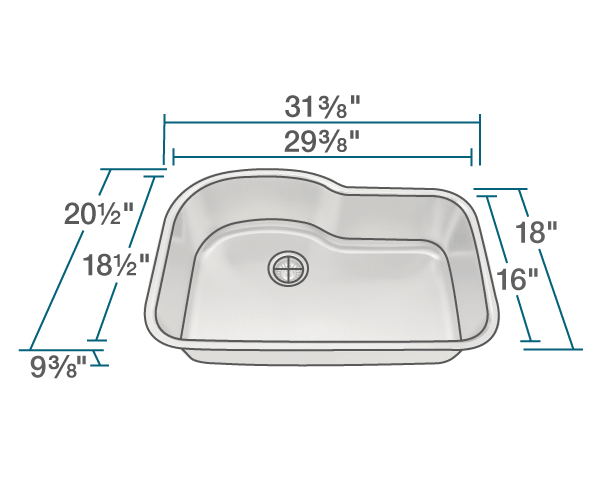 "The dimensions of 346 Offset Single Bowl Stainless Steel Sink is 31 3/8"" x 20 1/2"" x 9 3/8"". Its minimum cabinet size is 33""."