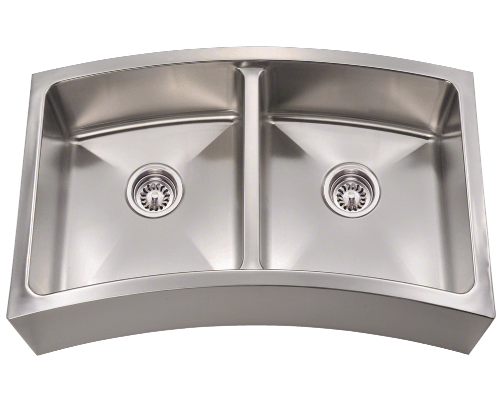 Kitchen Sinks Double 404 curved double bowl apron stainless steel kitchen sink 404 workwithnaturefo