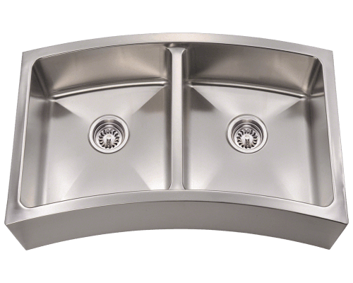 404 Curved Double Bowl Apron Stainless Steel Kitchen Sink