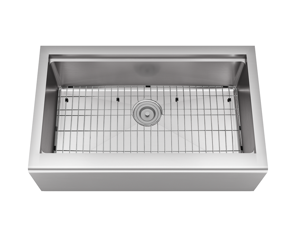 405-Ledge Alt Image: 304-Grade Stainless Steel Rectangle Apron One Bowl Kitchen Sink