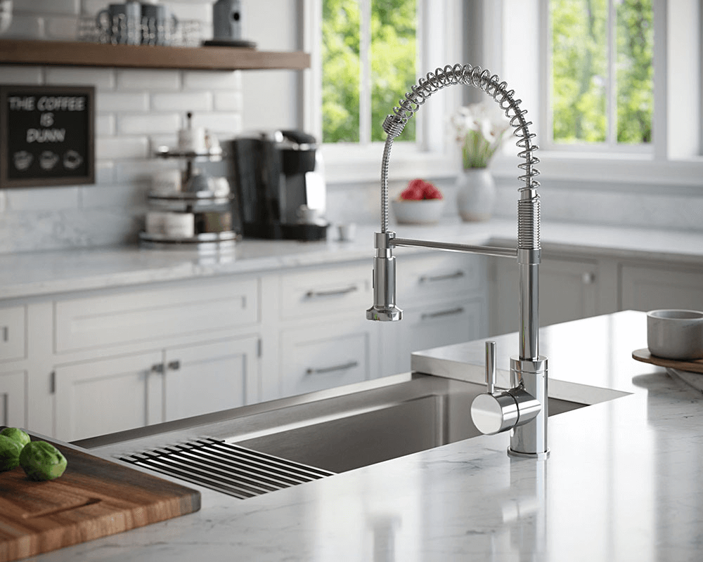 405-Ledge Lifestyle Image: 304-Grade Stainless Steel Rectangle One Bowl Apron Kitchen Sink