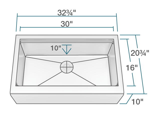 "The dimensions of 405-Ledge Single Bowl Stainless Steel Apron Workstation Sink is 32 3/4"" x 20 3/4"" x 10"". Its minimum cabinet size is 36""."