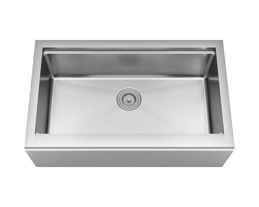 MR Direct 405-Ledge Single Bowl Stainless Steel Apron Workstation Sink