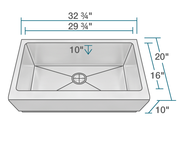 "The dimensions of 405 Single Bowl Stainless Steel Apron Sink is 32 3/4"" x 20"" x 10"". Its minimum cabinet size is 36""."