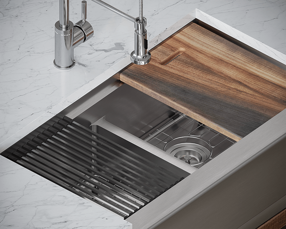 406-Ledge Lifestyle Image: 304-Grade Stainless Steel Apron Rectangle Two Bowls Kitchen Sink