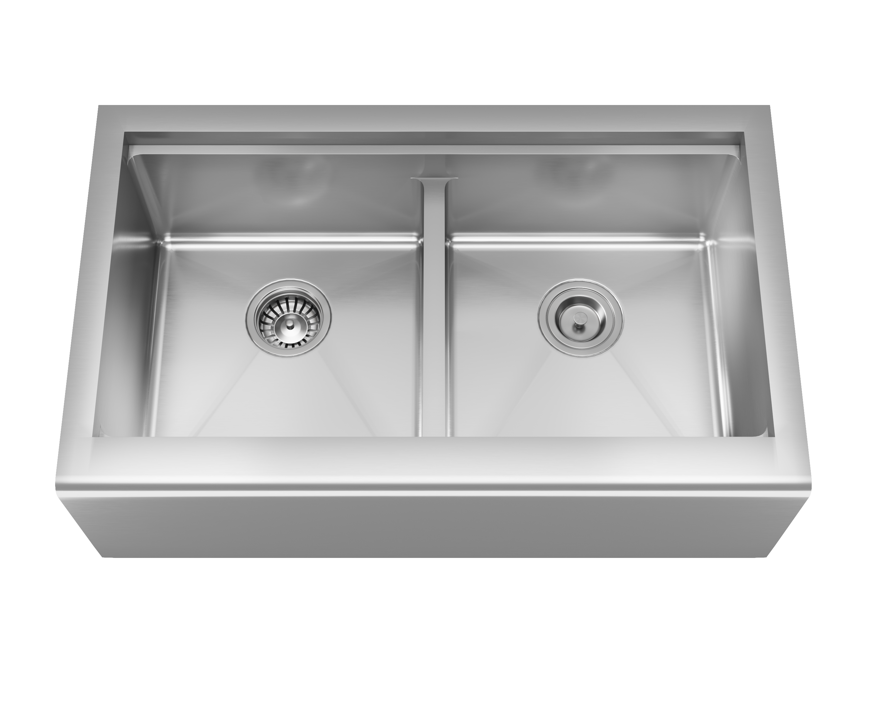 MR Direct 406-Ledge Double Equal Bowl Stainless Steel Apron Workstation Sink