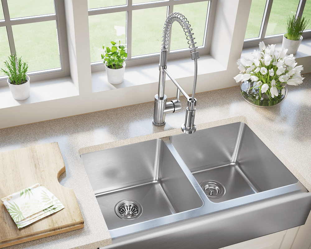 Stainless steel sinks and faucets for kitchens and baths for High quality kitchen sinks