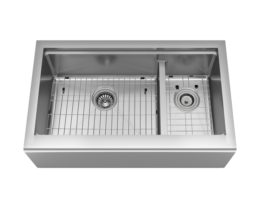 407L-Ledge Alt Image: 304-Grade Stainless Steel Rectangle Apron Two Bowls Kitchen Sink