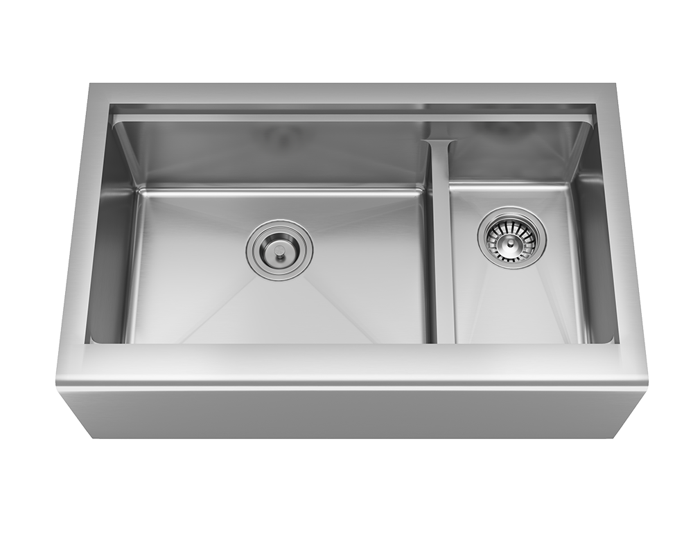 MR Direct 407L-Ledge Offset Double Bowl Stainless Steel Apron Workstation Sink
