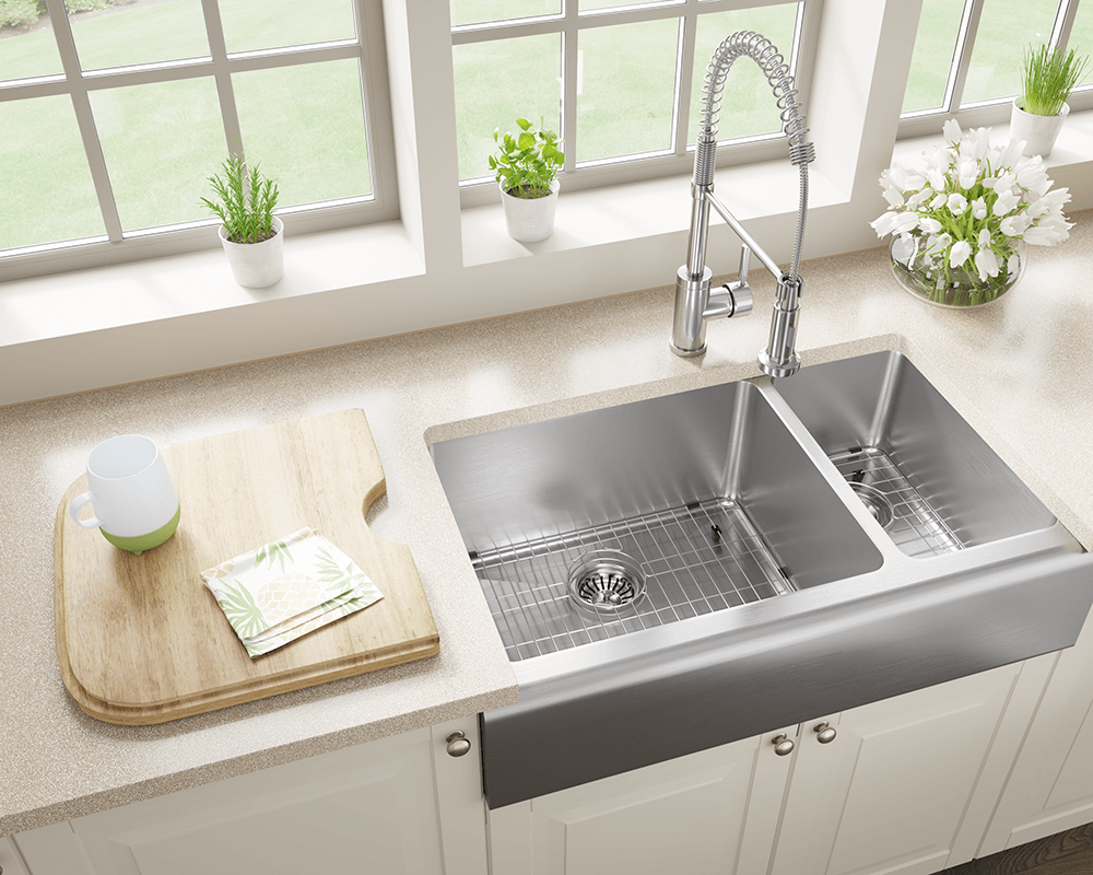 407L Lifestyle Image: 304-Grade Stainless Steel Limited Lifetime Two Bowls Apron Kitchen Sink