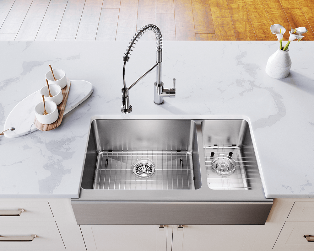 407L Lifestyle Image: 304-Grade Stainless Steel Two Bowls Limited Lifetime Apron Kitchen Sink