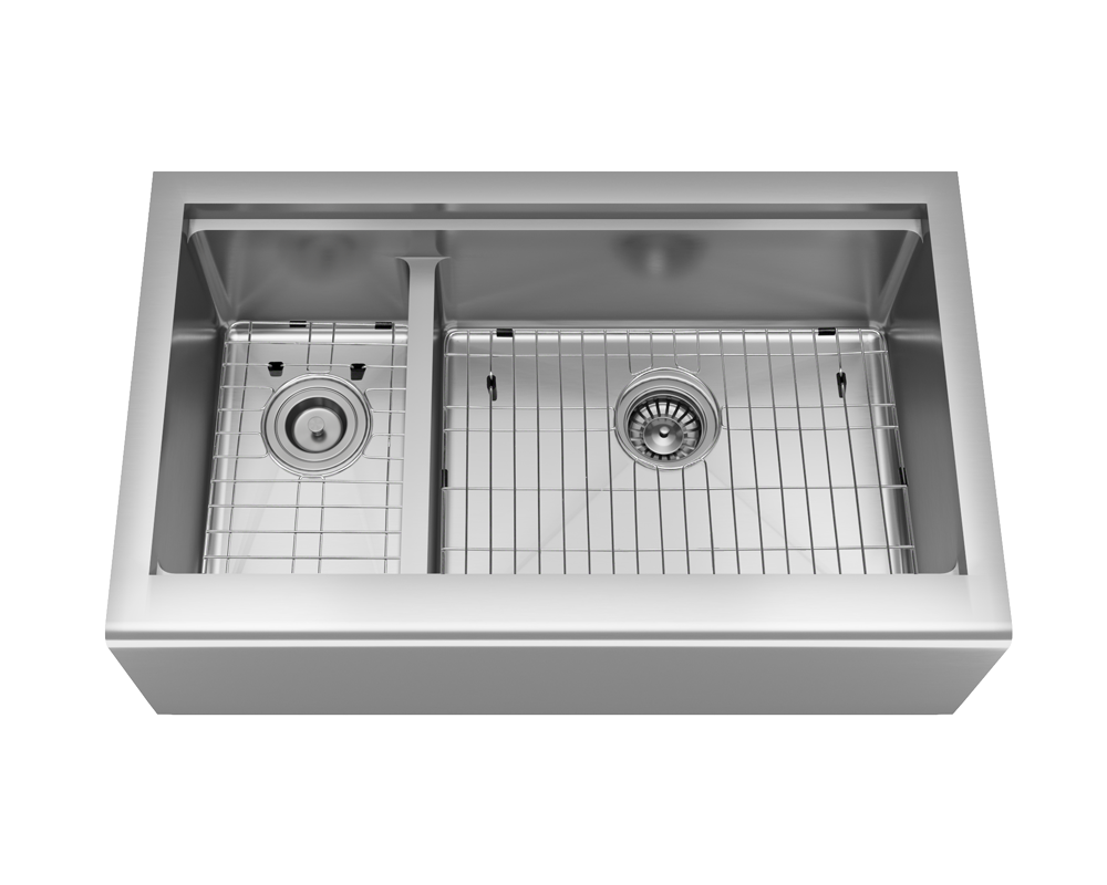 407R-Ledge Alt Image: 304-Grade Stainless Steel Rectangle Apron Two Bowls Kitchen Sink