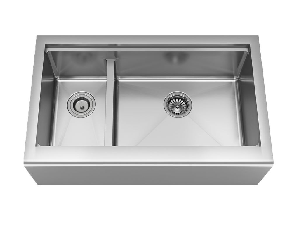 MR Direct 407R-Ledge Offset Double Bowl Stainless Steel Apron Workstation Sink