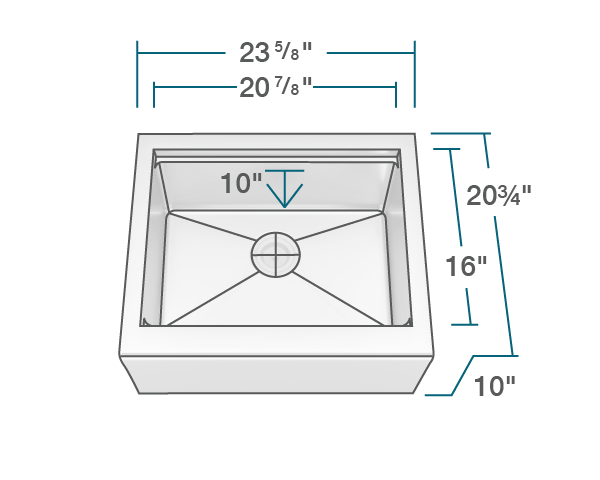 "The dimensions of 408-Ledge Single Bowl Stainless Steel Apron Workstation Sink is 23 5/8"" x 20 3/4"" x 10"". Its minimum cabinet size is 27""."