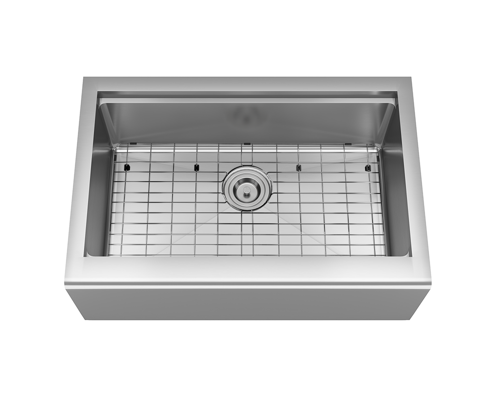 409-Ledge Alt Image: 304-Grade Stainless Steel Rectangle Apron One Bowl Kitchen Sink