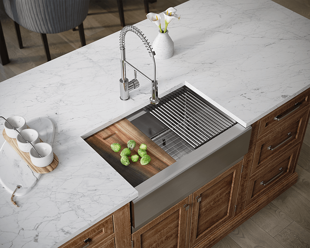 409-Ledge Lifestyle Image: 304-Grade Stainless Steel Apron Rectangle One Bowl Kitchen Sink