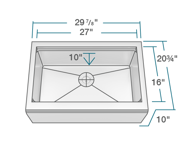 "The dimensions of 409-Ledge Single Bowl Stainless Steel Apron Workstation Sink is 29 7/8"" x 20 3/4"" x 10"". Its minimum cabinet size is 33""."