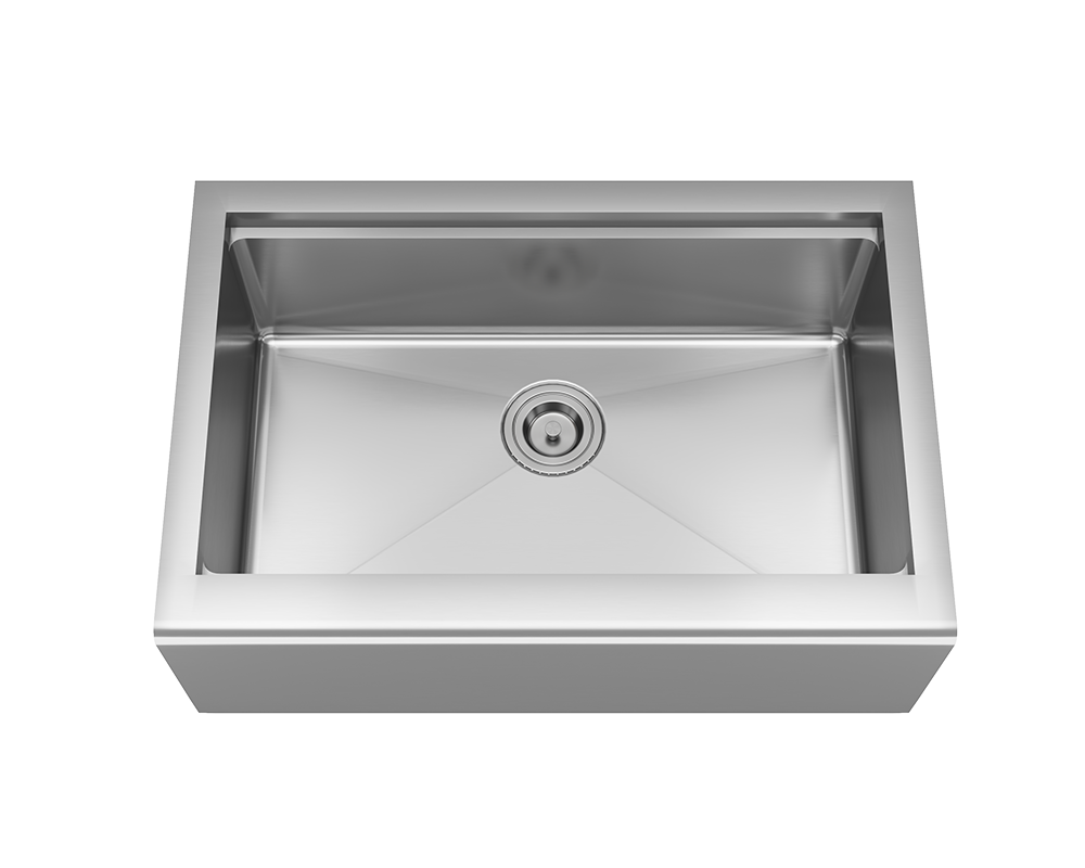 MR Direct 409-Ledge Single Bowl Stainless Steel Apron Workstation Sink