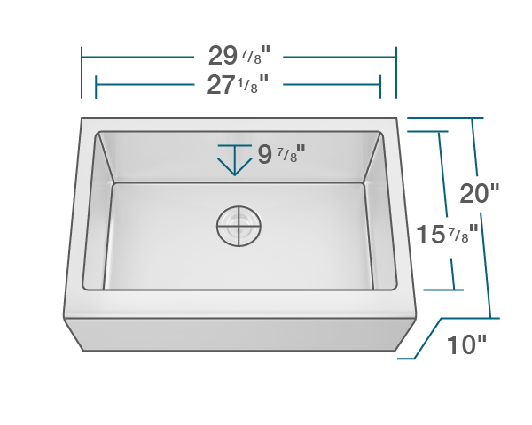 "The dimensions of 409 Single Bowl Stainless Steel Apron Sink is 29 7/8"" x 20"" x 10"". Its minimum cabinet size is 33""."