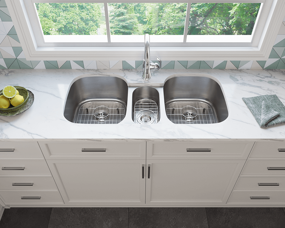 4521 Lifestyle Image: 304-Grade Stainless Steel Undermount Limited Lifetime Three Bowls Kitchen Sink
