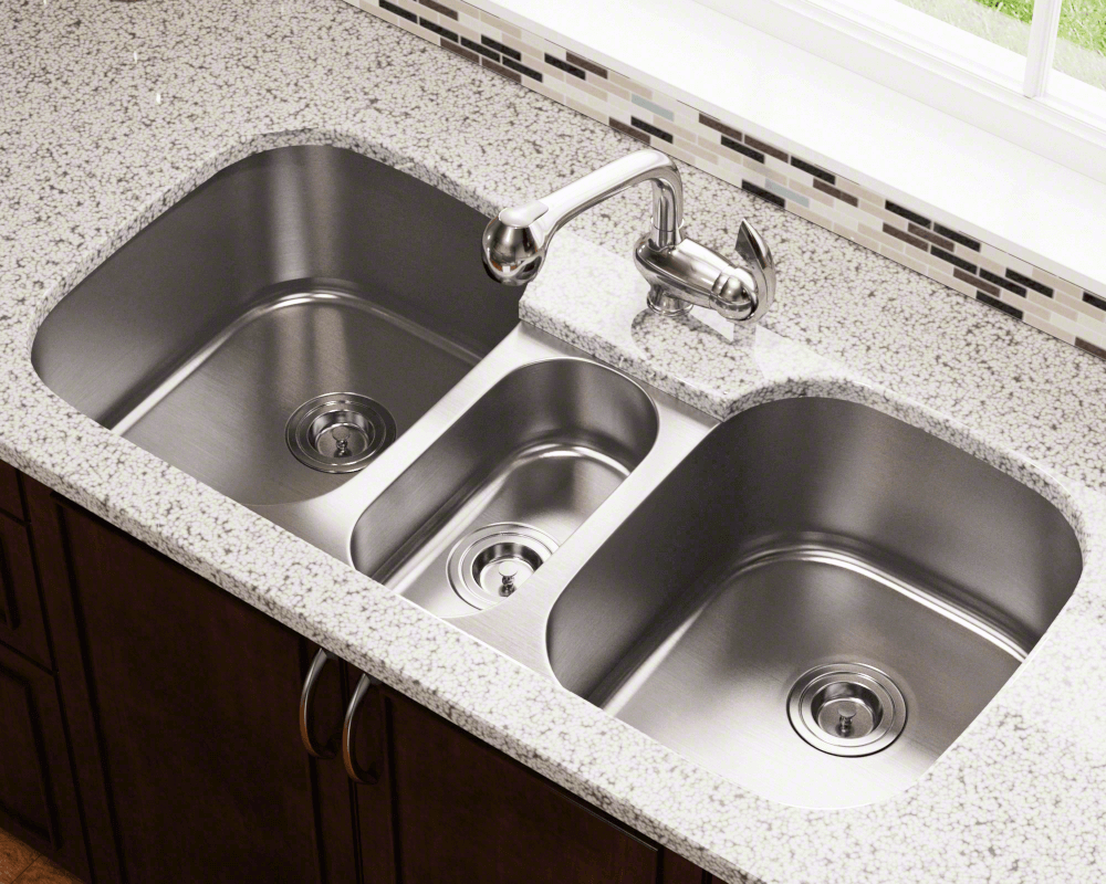 4521 Lifestyle Image: 304-Grade Stainless Steel Limited Lifetime Undermount Three Bowls Kitchen Sink