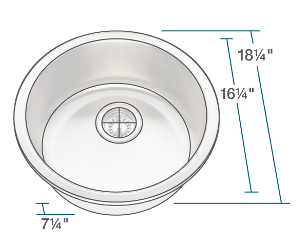 "The dimensions of 465 Circular Stainless Steel Bar Sink is 18 1/4"" x 18 1/4"" x 7 1/4"". Its minimum cabinet size is 21""."