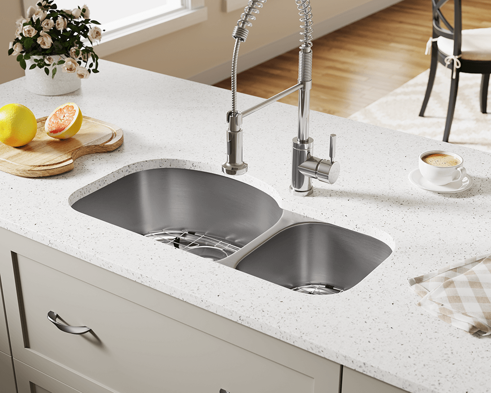501L Lifestyle Image: 304-Grade Stainless Steel Rectangle Undermount Two Bowls Kitchen Sink