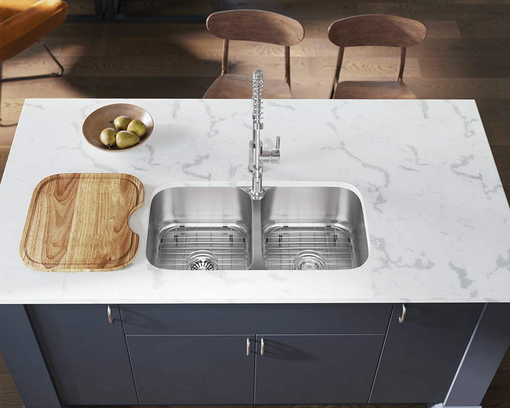 502A Lifestyle Image: 304-Grade Stainless Steel Undermount Rectangle Two Bowls Kitchen Sink